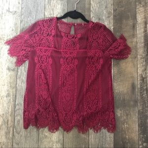 Pink lacy blouse